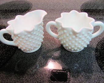 Fenton Hobnail Milk Glass Creamer and Sugar