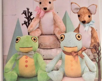Easy to Sew Cuddly deer and frog stuffed animals to sew using cotton, and minky fabrics. New Simplicity Pattern 8311 Baby Toy Shower Gift