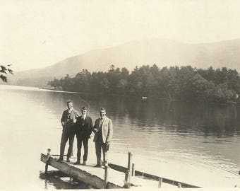 "Vintage Snapshot ""Lake View"" Adirondacks Boat Dock Reflection Mountains Found Vernacular Photo"