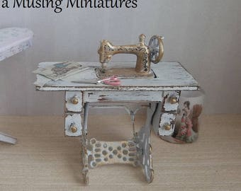 Treadle Sewing Machine French White in 1:12  Scale for Dollhouse Miniature Cottage
