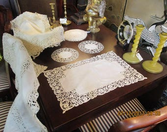 RESERVED Antique Battenberg  Battenburg Lace Linen Table Runner 12 Placemats and 12 Doilies or Coasters Set