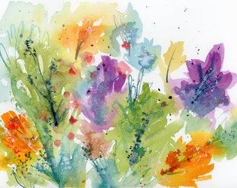 Original Trees Watercolor Painting, Landscape, Fine Art, Nature, Modern Art, Ink, Minimalist, Bohemian