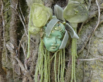 ethnic art necklace unique creation, an Angel in the forest fairy