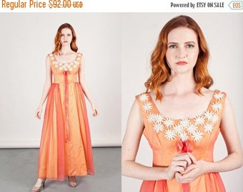 FLASH SALE 50s Peach Chiffon Dress Vintage Embroidered Floral Gown Prom Dress