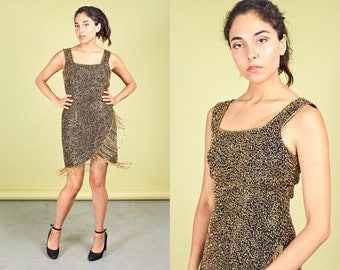 80s Black Gold Fringe Dress Vintage Sleeveless Bodycon Bead Dress