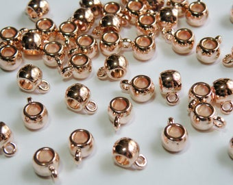 20 Rose Gold Tube Hanger Bails with large 3.8mm hole smooth European charm beads with 2mm loop 10x7x5mm DB72642