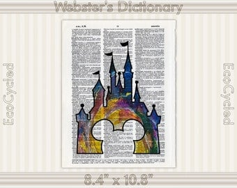 Disney Castle Watercolor Print with Mickey Ears on Vintage Upcycled Dictionary Art Print Book Art Print bookworm gift book lover art