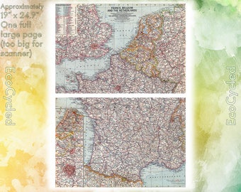 Vintage Atlas Map 1960 France, Belgium, Netherlands - National Geographic Map full color Map Paper Ephemera Historical 19 x 25 Inches NG30