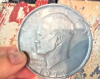 Novelty Eisenhower dollar coin, large coin, huge aluminum coin, retro coin collecting, vintage oversized coin