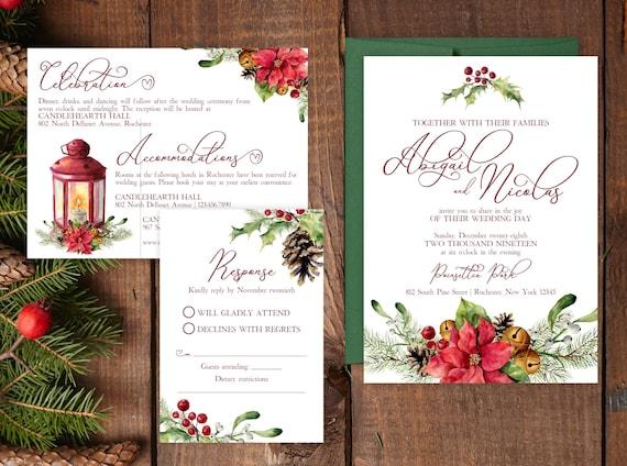Sample wedding invitation suite poinsettia wedding invite suite il570xn filmwisefo