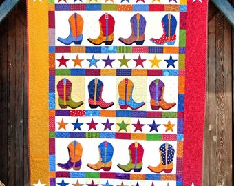 BOOT N SKOOT | Quilt Patterns | PDF Pattern | Cowboy Boot Quilt | Cowboys | Applique Quilts | Happy Quilts | Kids Quilts