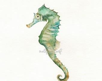 Seahorse Print, wall art, watercolor print, light green, ocean life, Archival Print
