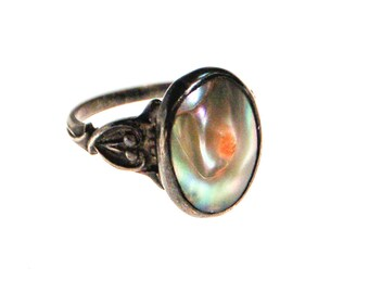 Art Nouveau Blister Pearl Ring, Sterling Silver
