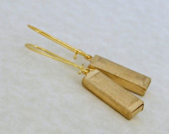 Gold Harmonica Earrings .. musical instrument, mouth organ, musical earrings, gold earrings, long earrings