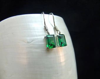 Emerald Gemstone Sterling Silver Earrings