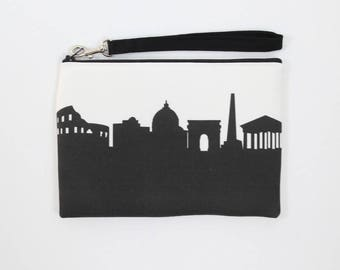 ROME ITALY Skyline Wristlet Clutch. Skyline Wristlet. Skyline Clutch. Twill Clutch. Skyline Silhouette Purse. Gifts for Her. Travel Gifts.