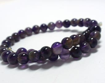 "Purple Amethyst Round Beads, 5.5-6mm Natural Gemstone Amethyst Beads, 9"" Strand - 40 Beads"