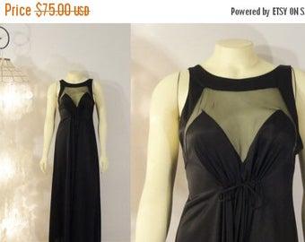 B-DAY SALE Vintage Nightgown Black Satin Illusion Blanche Ralph Montenero Size Small  to Medium