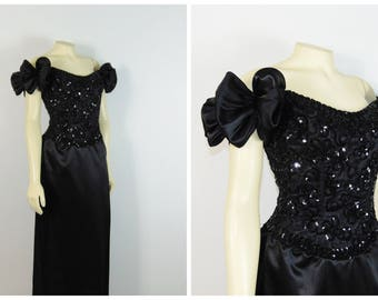 Vintage Dress 80s Mike Benet 80s Prom Dress / Formal Black Sequin Beaded Satin Formal Gown