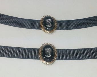 Black Glass Intaglio Cameo Metal Mesh Signed Tammey Jewels Vintage 1960's Mid Century Costume Jewelry Choker Necklace & Bracelet on Etsy