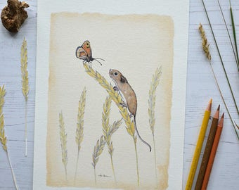 Field Mouse and Butterfly - Art Print - Limited Edition - Handmade Art