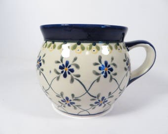 Vintage Polish Pottery Mug - Made in Poland Pottery Mug
