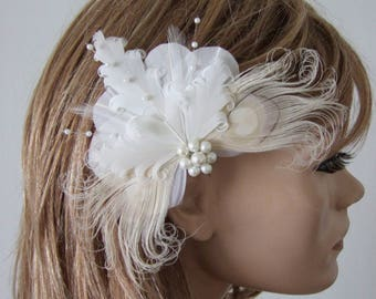 """Bridal White Cream Goose Nagoire and Peacock Feathers + Pearls """"Lena Jnr"""" Fascinator Clip. Prom Bridesmaids Boho Fairytale Rustic Wedding"""