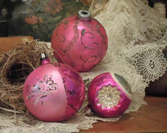 Three Vintage Pink Glass Ornaments / Shiny Brite Pink and Indented Round Christmas Ornament / Mica Ornaments / Poland
