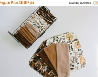 "ON SALE 20% OFF - Unpaper Towels Cloth Napkins 12 Flannel Tissues  - Choose your size (8""x 8"" or 10"" x 12"")  - 1 Ply -  Coffee Hot Cocoa  Mi"