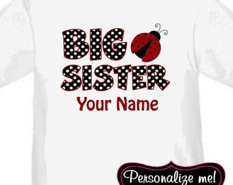 ON SALE Big Sister Ladybug Red Personalized T Shirt