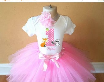 ON SALE 1st Birthday Pink Forest Animal Personalized Shirt Tutu Headband Set