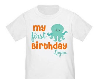 ON SALE Under the Sea Octupus Personalized Birthday Shirt - ANY Age