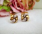 Vintage cufflinks Gold And Silver Knot Cufflinks  Formal Wedding For Him, For Dad, Hipster