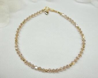 Champagne Anklet Solid 14kt Gold Ankle Bracelet Crystal Anklet 14k Gold Anklet Heart Ankle Bracelet Stamped 14k BuyAny3+Get1 Free