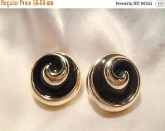 50% Off Sale Retro Vintage Black Enamel on Silver Tone Swirl Round Pierced Earrings
