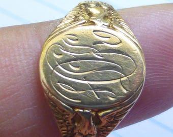Antique 1917 10k  Eagle Patriotic USA monogrammed signet ring