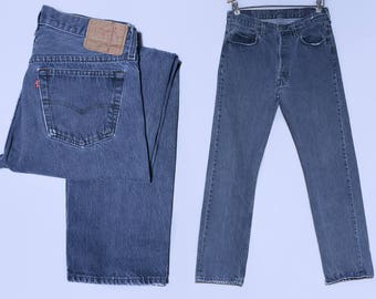 Vintage Levis 501 Grey Denim Button Fly Made in USA High Waisted Jeans 32 x 31