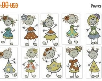ON SALE Sticky Floral Girls Machine Embroidery Ever So Cute Designs - 5x7