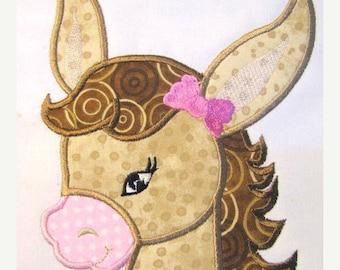 ON SALE Farm Friends For Girls - Horse Face 01 Machine Applique Embroidery Design - 4x4, 5x7 & 6x8