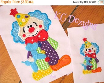 ON SALE Cute Clown 01 Machine Applique Embroidery Design - 4x4, 5x7 & 6x8