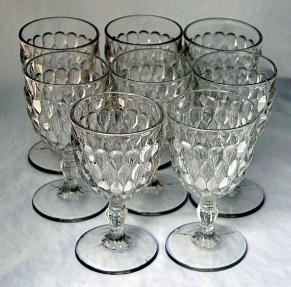Antique Ca 1874 ART aka JOB'S TEARS 8 Goblets Early American Pattern Glass By 'Adams and Co.' Three Mold Exc Condition