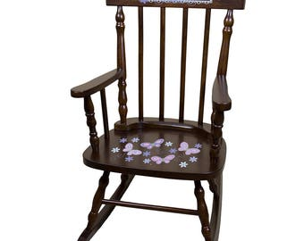 Personalized Espresso Childrens Rocking Chair with Lavender Butterflies Design-spin-esp-300b