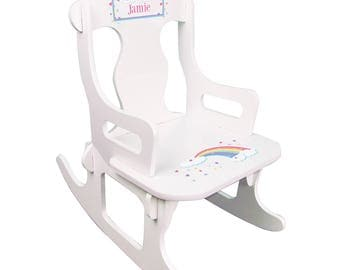 Personalized White Puzzle Rocking Chair with Pastel Rainbow Design-puzz-whi-235b