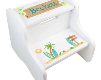 Beach step stool etsy personalized childs surf step stool for beach nursery in white for girls or boys surfing surfboard negle Image collections