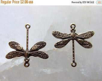 ON SALE Antique Brass Dragonfly Component Finding Connector Vintage Style 17mm x 12mm QTY 2