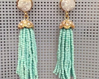 Druzy and beaded tassel earrings! [mint + white]