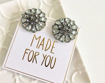 Gray Statement Stud Earrings