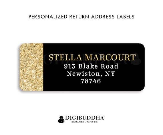 modern address labels black gold return address label glam return