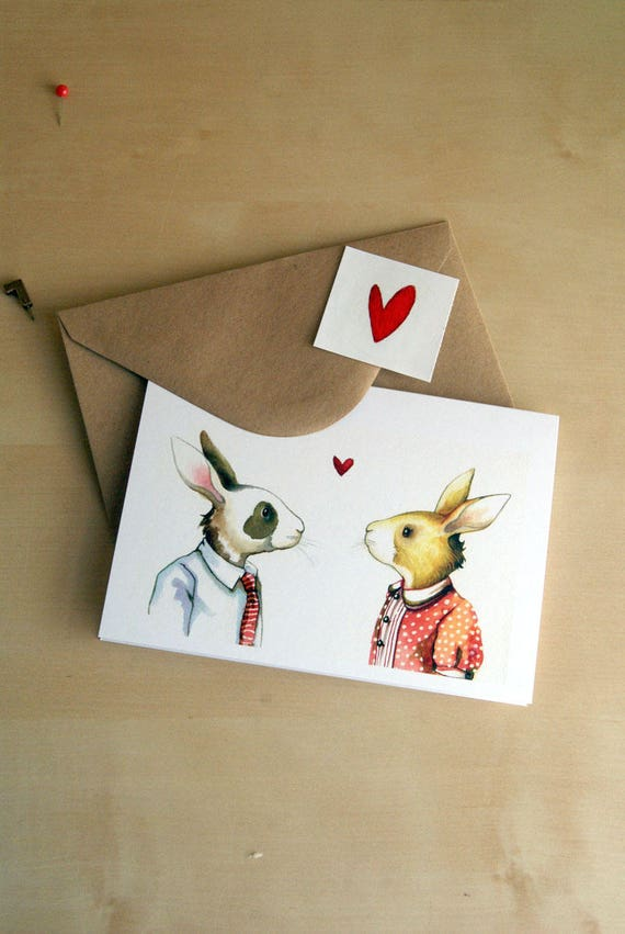bunny love card - blank greeting card