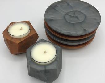 Metallic Resin Tea Candle Holders
